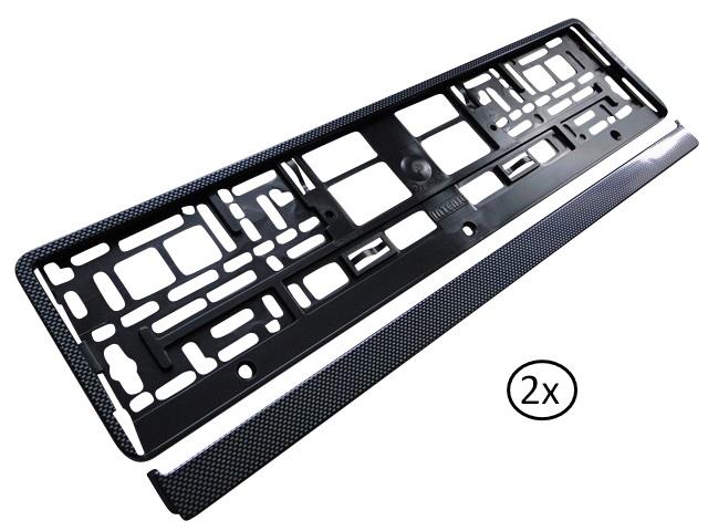 2x kennzeichenhalter nummernschildhalter kennzeichenhalterung carbon optik neu ebay. Black Bedroom Furniture Sets. Home Design Ideas