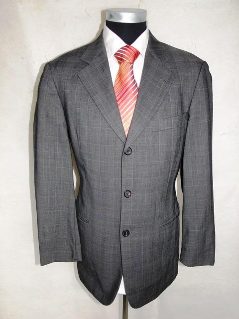 hugo boss anzug einstein omega einreiher grau kariert schurwolle gr 46 ebay. Black Bedroom Furniture Sets. Home Design Ideas