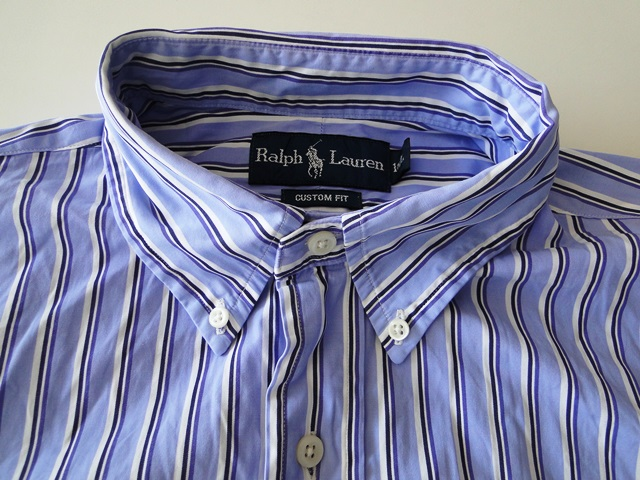 ralph lauren custom fit herren hemd langarm blau gestreift gr l top. Black Bedroom Furniture Sets. Home Design Ideas