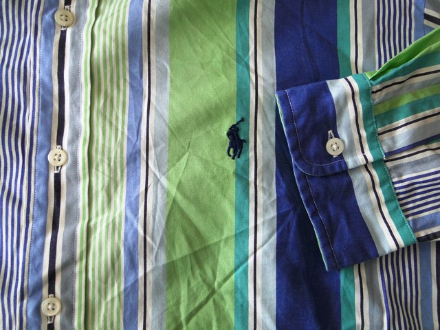 ralph lauren ellington herren hemd langarm gr n blau gestreift gr l. Black Bedroom Furniture Sets. Home Design Ideas