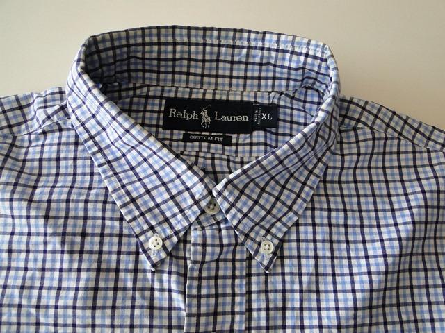 details about ralph lauren custom fit herren hemd langarm blau kariert. Black Bedroom Furniture Sets. Home Design Ideas