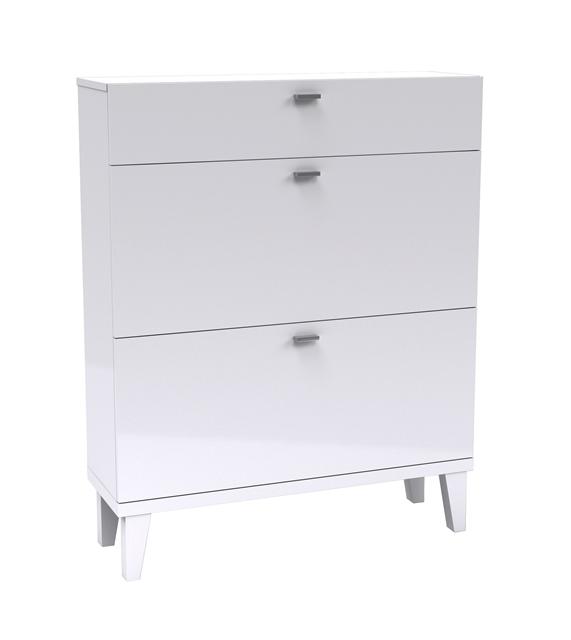 Elegance Schuhschrank 3 Klappen Schuhkommode Garderobenschrank Regal Weiß Neu! Schränke & Regale Büromöbel