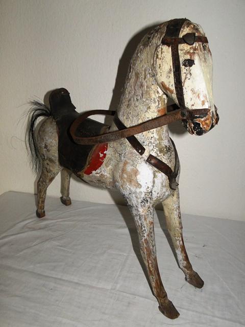antike puppe mit lederk rper alter kleidung antikem holz pferd brocante ebay. Black Bedroom Furniture Sets. Home Design Ideas