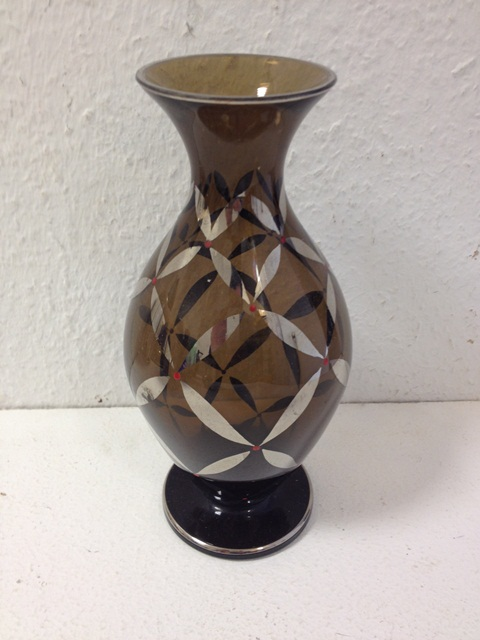 antik art deco vase wmf ikora b hmen blumenvase rauchglas 23cm rar ebay. Black Bedroom Furniture Sets. Home Design Ideas